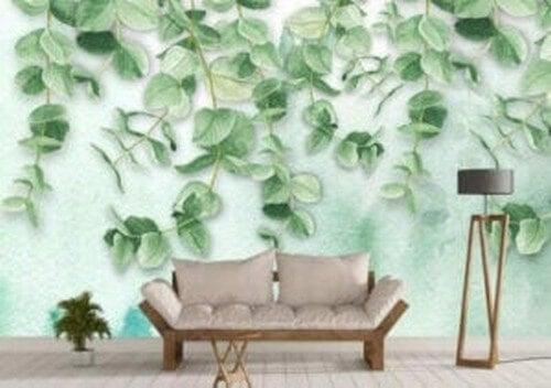 Tapet med bladmønstre