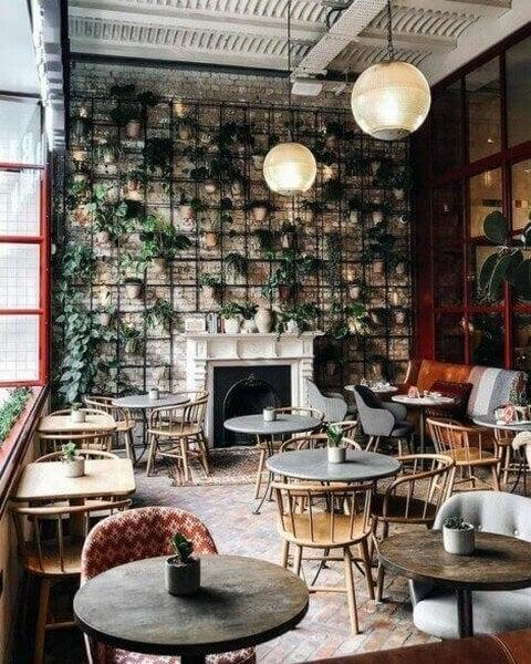 Café indrettet med plantevæg