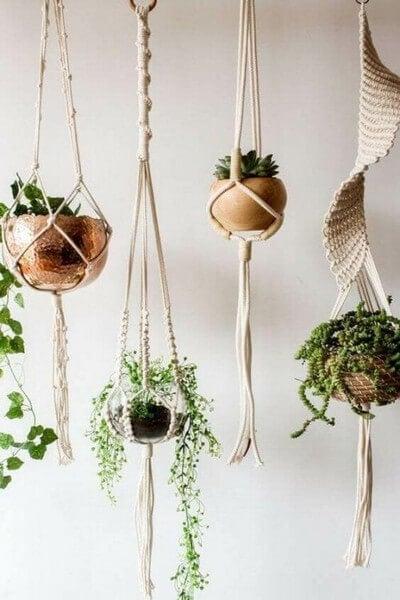 Plantekrukker, der hænger i reb fra loftet