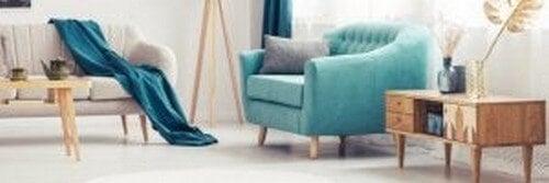 Lænestol i den turkise farve