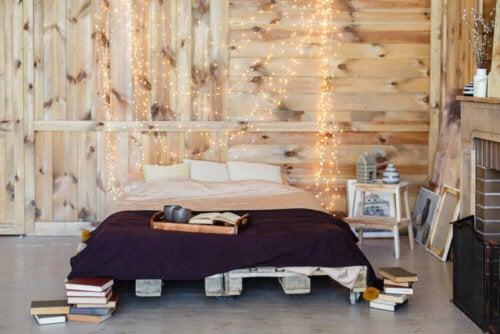 lyskæder i soveværelse