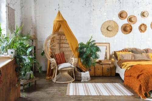 soveværelse med naturlige elementer