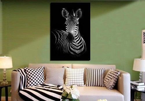 Stue med zebrabillede