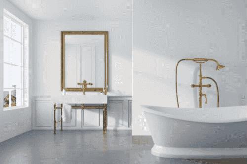 Sådan bruger du gyldne elementer på badeværelset