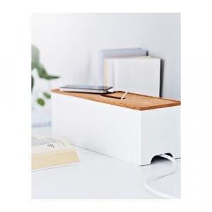 Kabelbox in weiß mit Korkdeckel