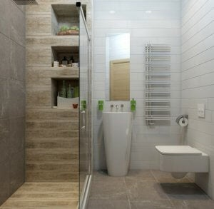 Begehbare Dusche in einem kleinen Bad