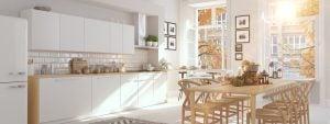 Küche mit weiß und Holz