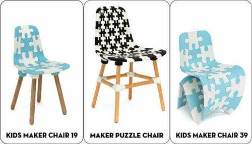 Puzzle-Stühle von Bits & Parts sind orginelle 3D-gedruckte Möbel.
