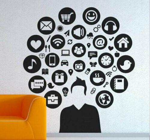 Dekor mit einer technologischen Thematik – Wandtattoo