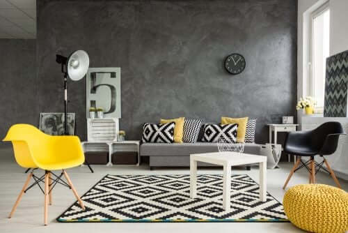 graue Wohnzimmer - grau, schwarz, gelb