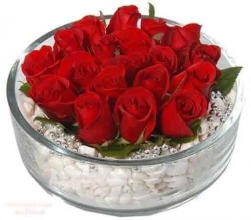 Arrangement aus roten Rosen auf einem Steinbett