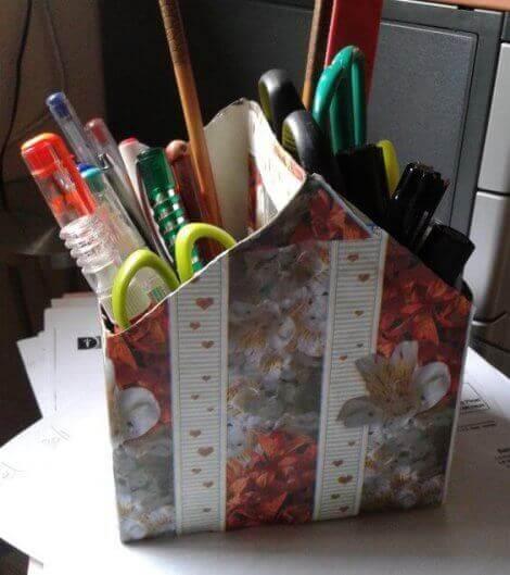 Stiftehalter aus recycelten Milchkartons