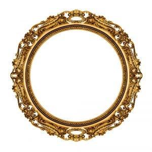 Espejo vintage redondo y dorado característico de este estilo
