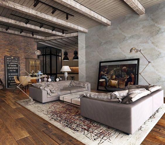 Alfombra para salón con sofás.