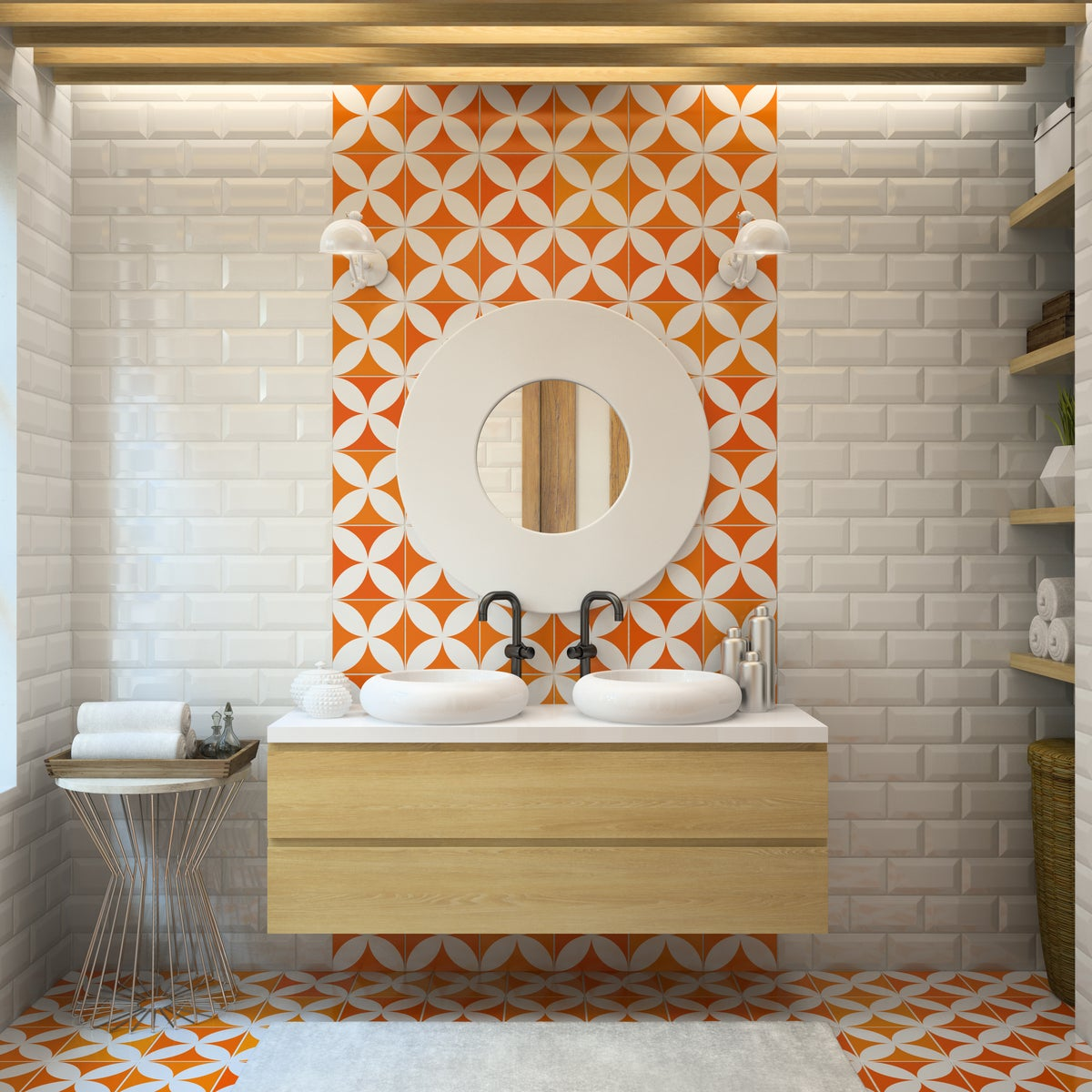 Modern bathroom in white and orange tile