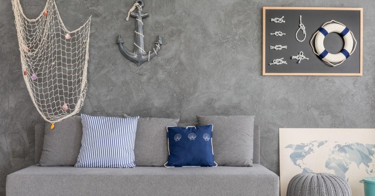 Decoración estilo marinero en grises y azules