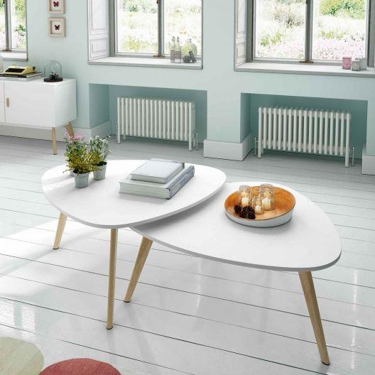 Mesas de centro ovaladas en blanco