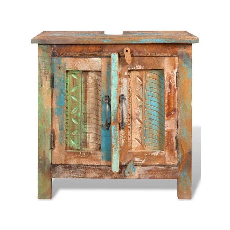 Mueble para cuarto de baño realizado con maderas recicladas