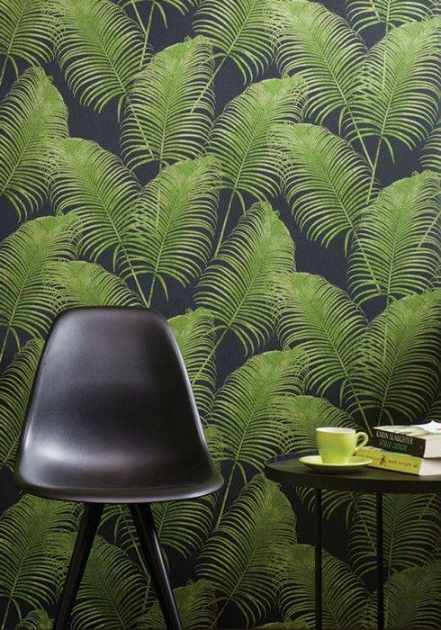 Papel de pared con motivos vegetales en verde