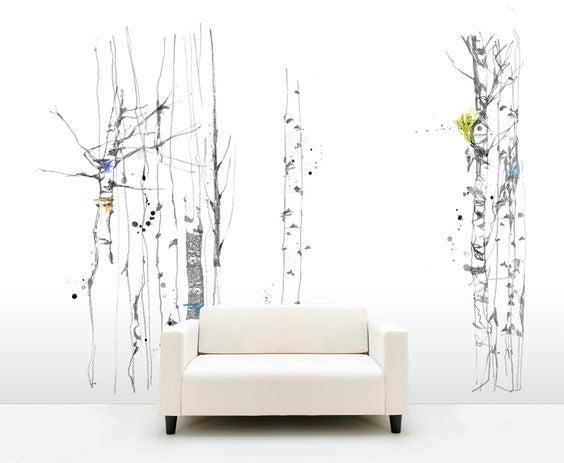 Papel de pared con motivos vegetales