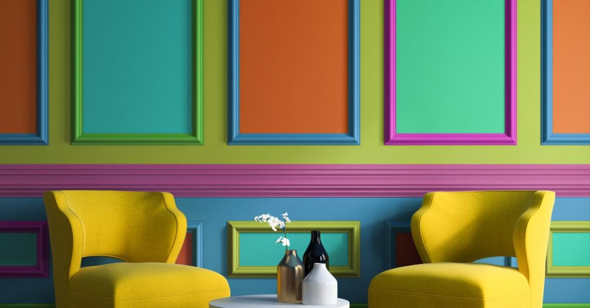 Pared pintada de varios colores