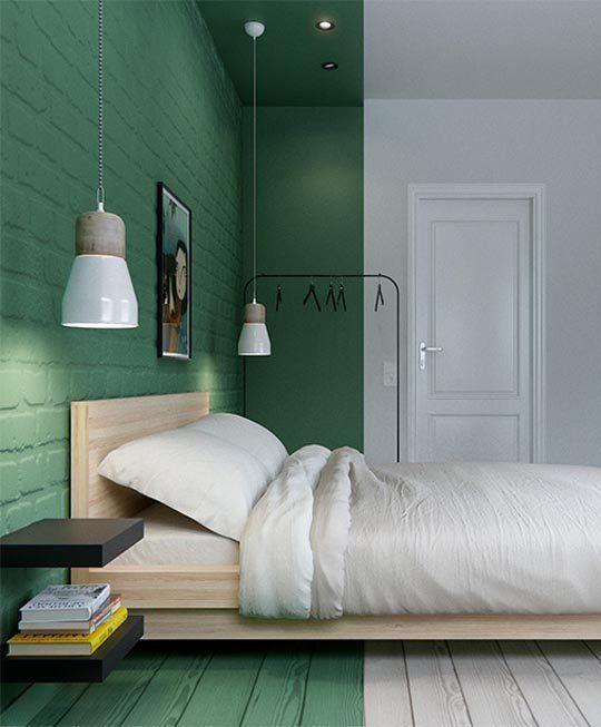 Pared pintada de verde y blanco