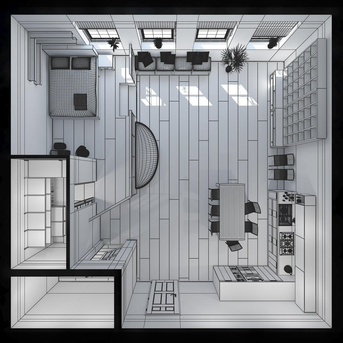 Plano del interior de una minicasa