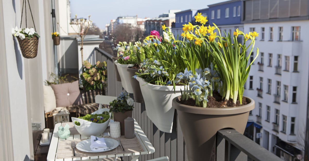 Balcón decorado con plantas en maceteros adaptados a la barandilla