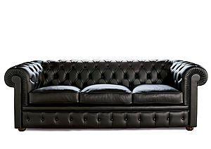 Sofá chester en piel negro
