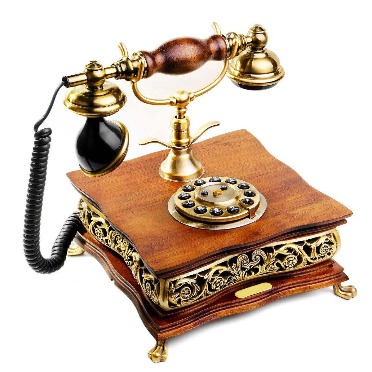 Teléfono vintage en un estilo retro de decoración
