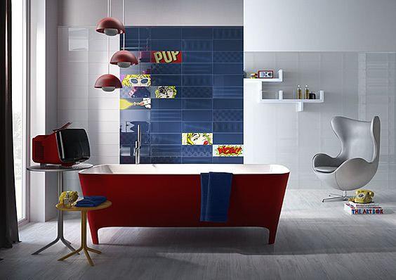 Bañera roja y decoración Art Pop