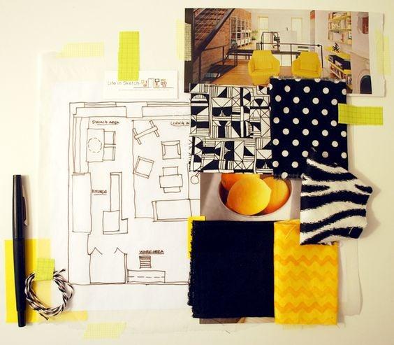Ejemplo de moodboard en tonalidades amarillas y negras
