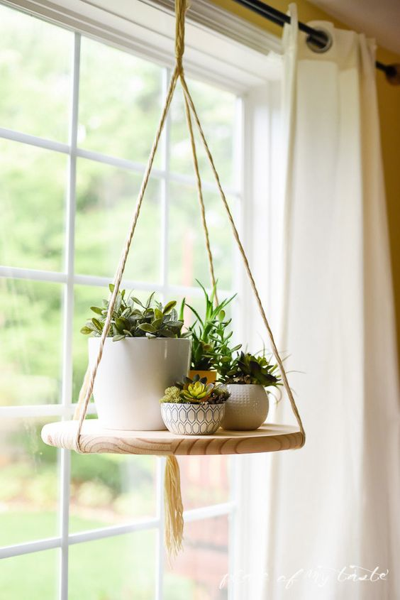 Estantería colgante con varias plantas