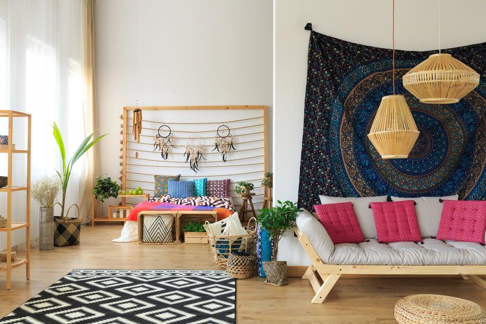 Textiles para decorar tu habitación con estilo boho.