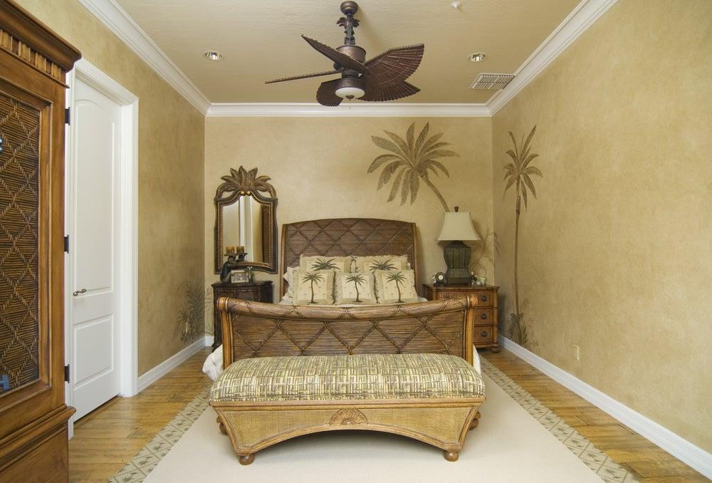 Quarto com decoração tropical - casa de praia