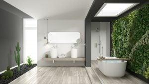 Jardín vertical en una pared completa del baño