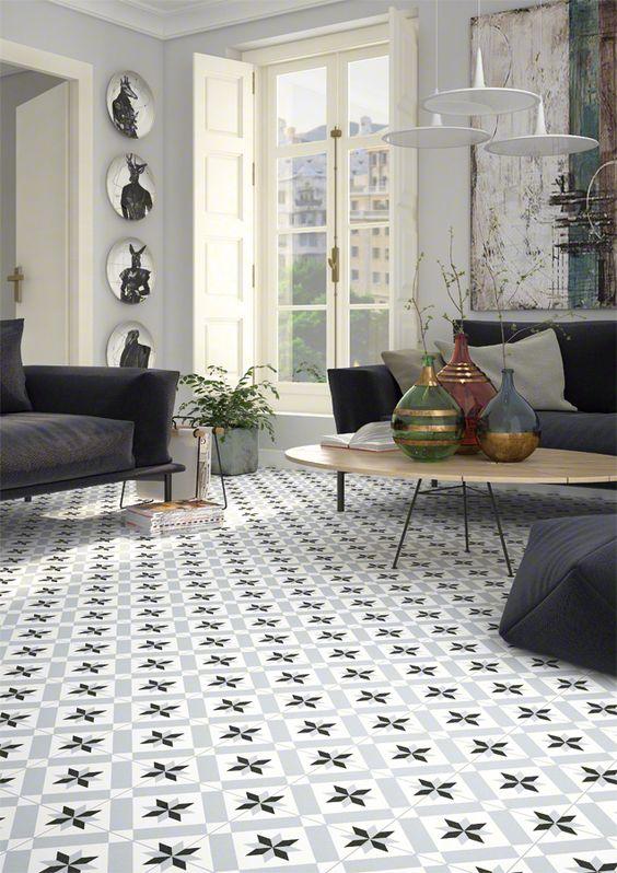 Mosáico de estilo retro con azulejos hidraúlicos