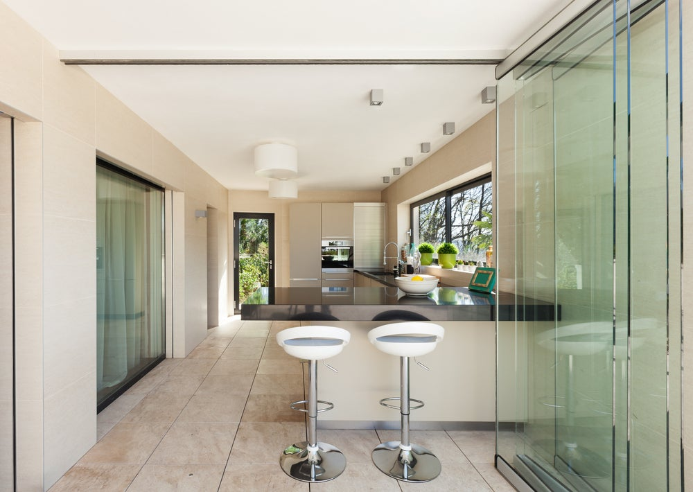 Glass sliding doors.