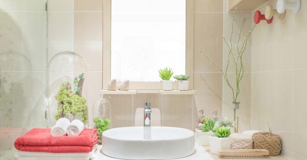 Baño con un toque fresco.