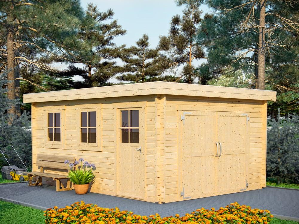 Cobertizo de madera grande con doble puerta.