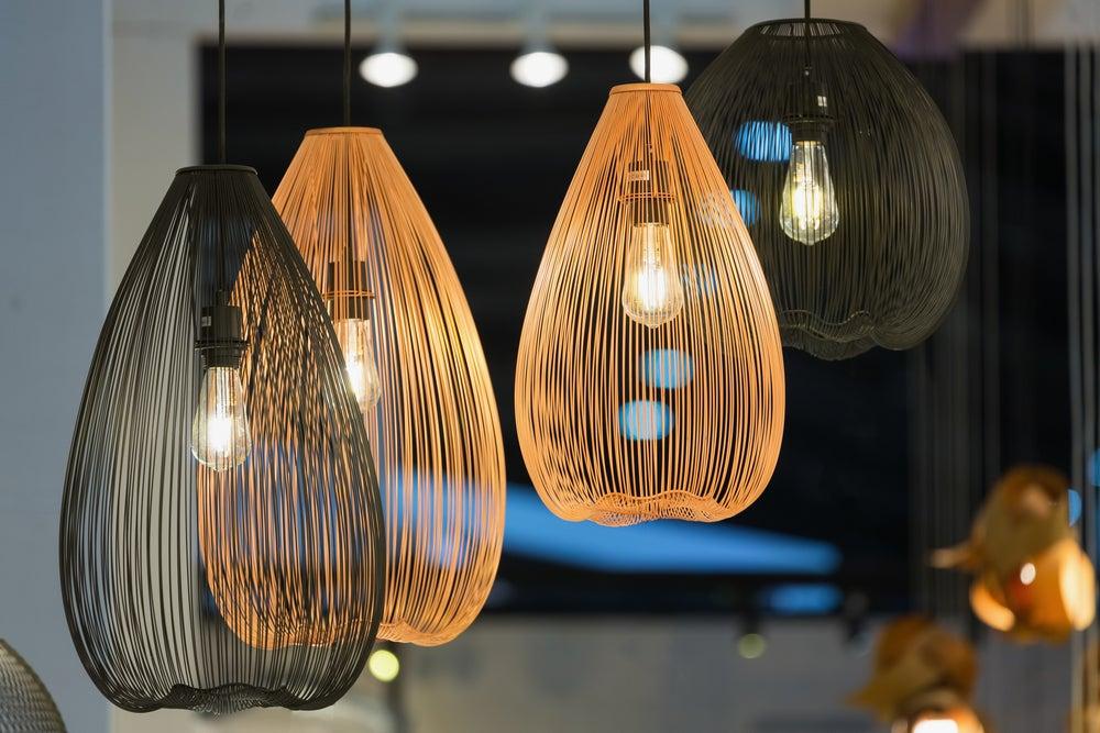 Modern style wicker lamps.