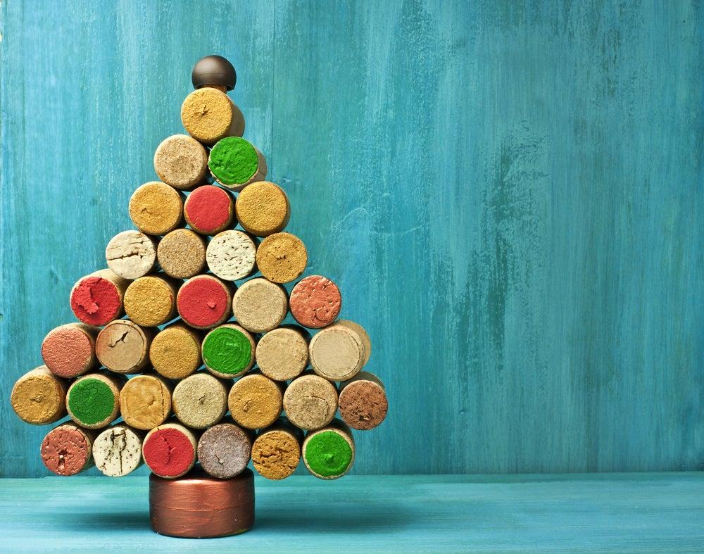 Posavasos con forma de árbol de Navidad.