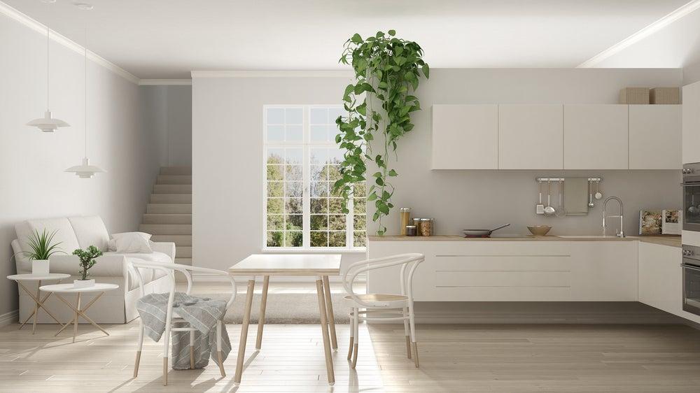 Cocina de estilo nórdico con tonos blancos, madera, plantas, iluminación natural.