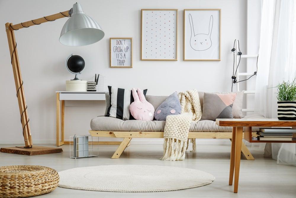 Combinación de colores soft para el salón.