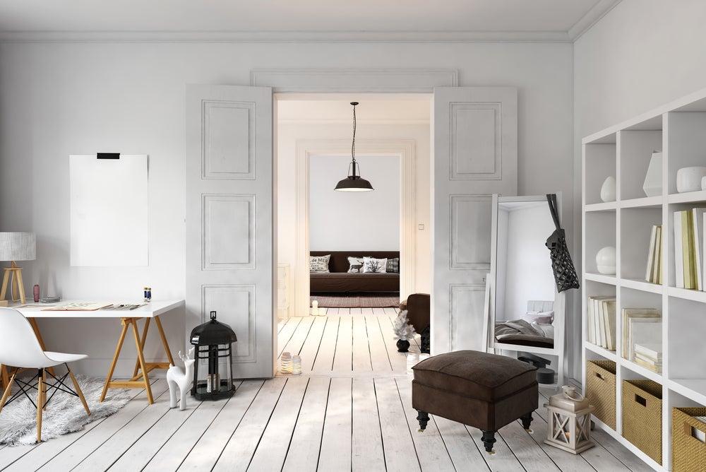 Doble puerta lacada en blanco corredera.