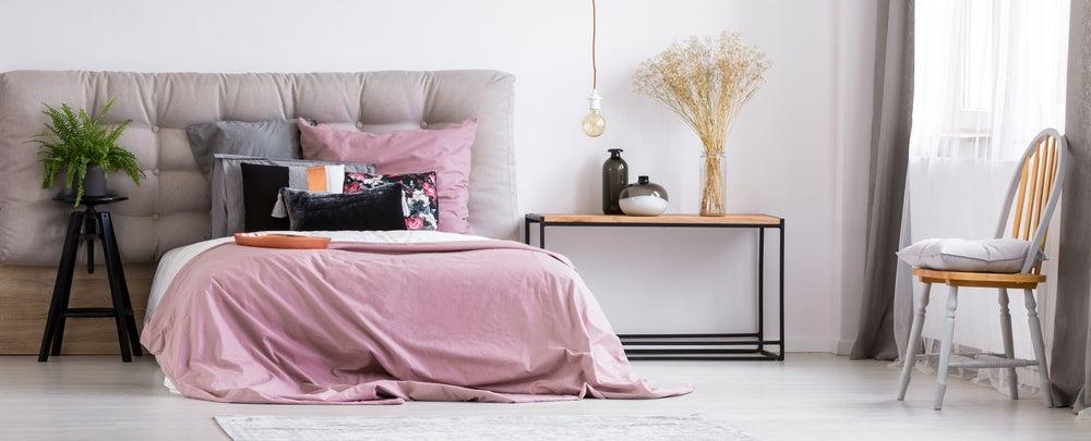 Funda nórdica reversible: rosa y blanca.