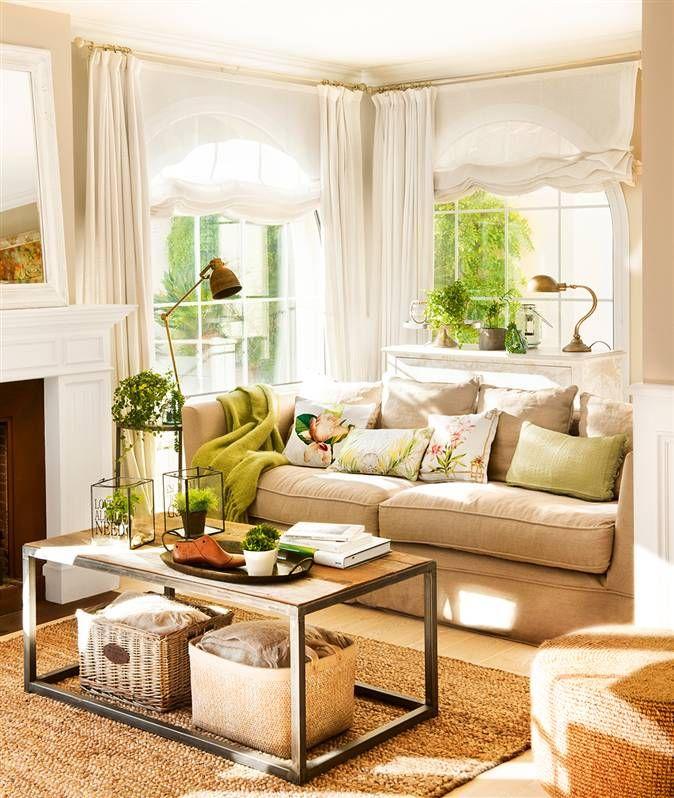 Salón con tendencia hacia lo natural: fibras naturales, importancia de la luz natural...