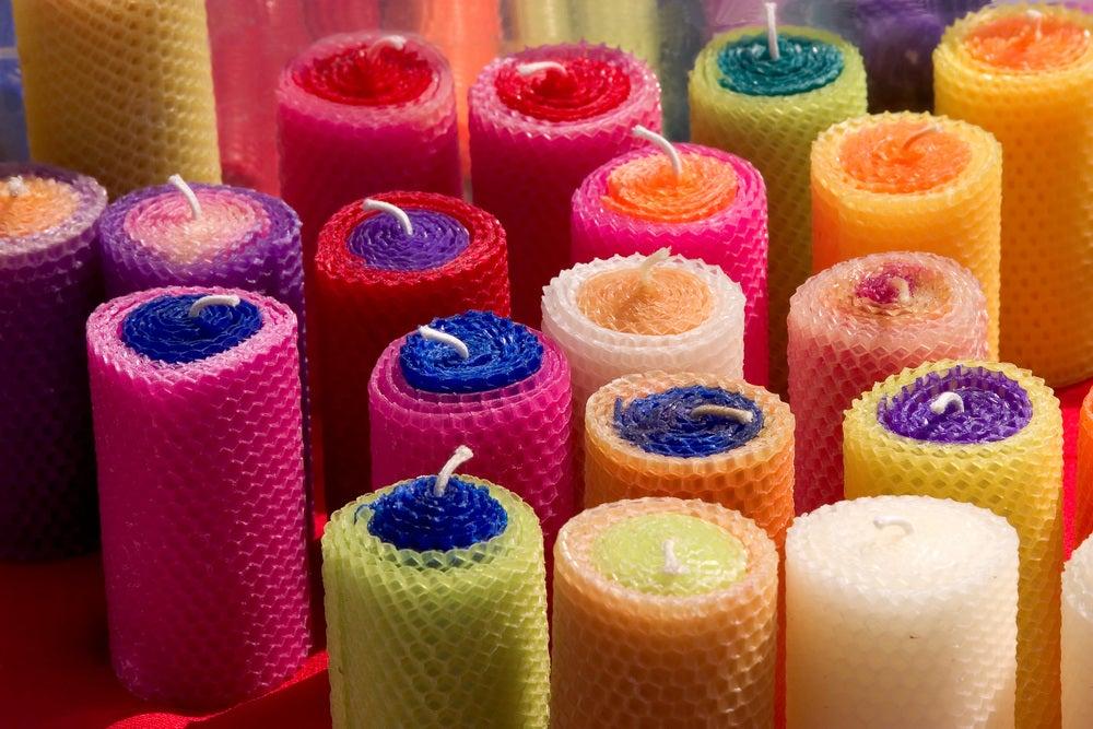 Velas de colorines hechas a mano.