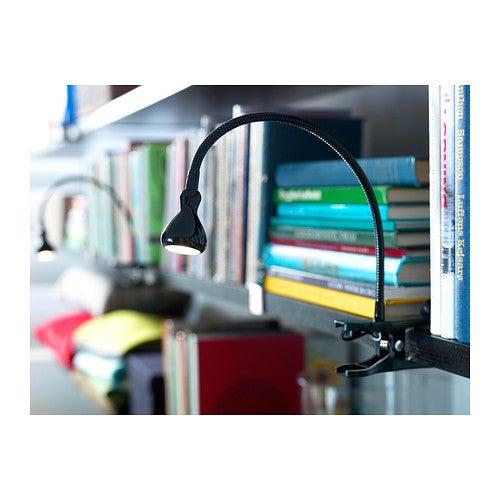 Flexo negro de pinza para escritorio.