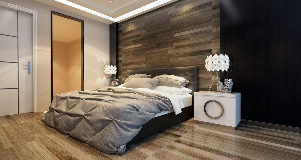 Pared de la cama de madera.
